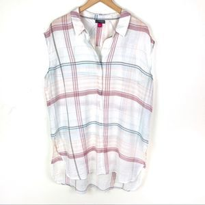 Vince Camuto Plaid Sleeveless Button Front Shirt L